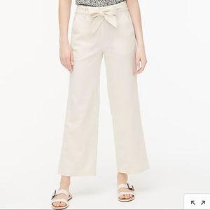 J Crew tie-front wide-leg crop linen-cotton pant